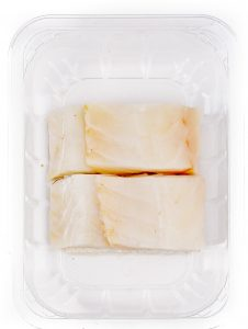 White fish MAP packaging. Can be fresh or frozen.
