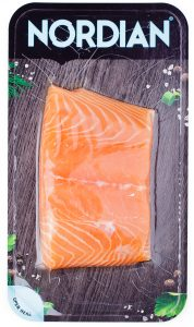 Salmon flatskin packaging. 