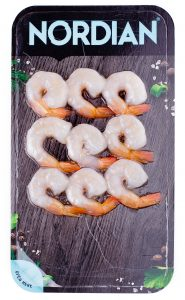 Cooked shrimp flatskin packaging. 