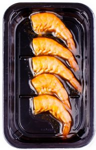Cooked shrimp trayskin packaging. 