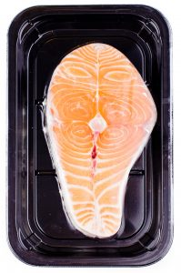 Salmon trayskin packaging. 